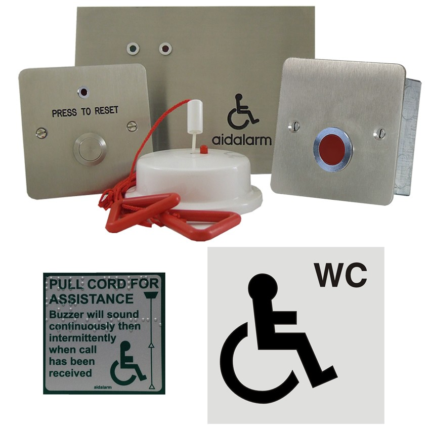 Aidalarm Disabled Toilet Alarm Stainless Kit