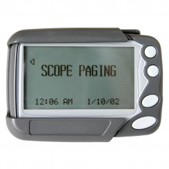 4-8 line text pager with tone and vibrate facility