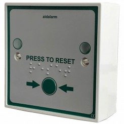 Aidalarm Press to Reset Button with Braille text