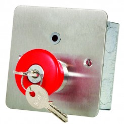 Mushroom headed latching button with LED Key release