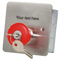 Mushroom headed latching button key release Custom Text