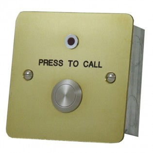 Polished Brass Call button with re-assurance LED