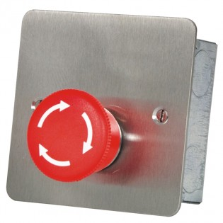 Mushroom Headed Latching Panic Button with Twist Release