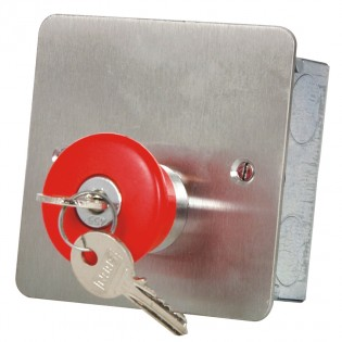 Mushroom Headed Latching PA Button with Key Release