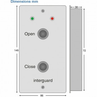 Open - Close buttons with door status LEDs
