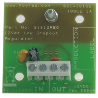 12-18vdc LDO regulator module 12vdc 500mA output c/w pillars