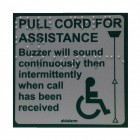 Aidalarm Pull Cord Instruction Label with Braille text