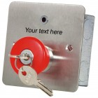 Mushroom Headed Latching PA Button with Key Release, LED and Custom Text