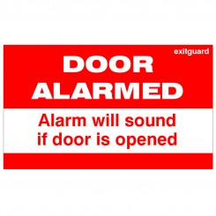 Red DOOR ALARMED Label 170 x 90mm