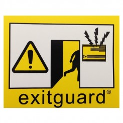 Self adhesive Exitguard door warning label 100 x 80mm