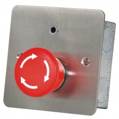 Mushroom Headed Latching Panic Button with LED Twist Release