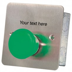 Mushroom headed momentary action Green button custom txt