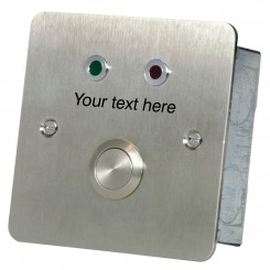 Two LEDs and Button with special text Stainless steel