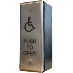 Narrow Style Push Pad laser etched disabled logo and text