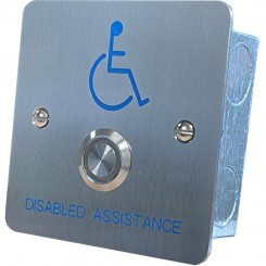 Call button with Halo LED Stainless steel, Disabled Logo